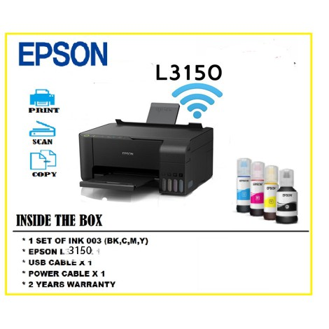 Epson EcoTank L3150 Wi-Fi All-In-One Ink Tank Printer With Anti UV Ink