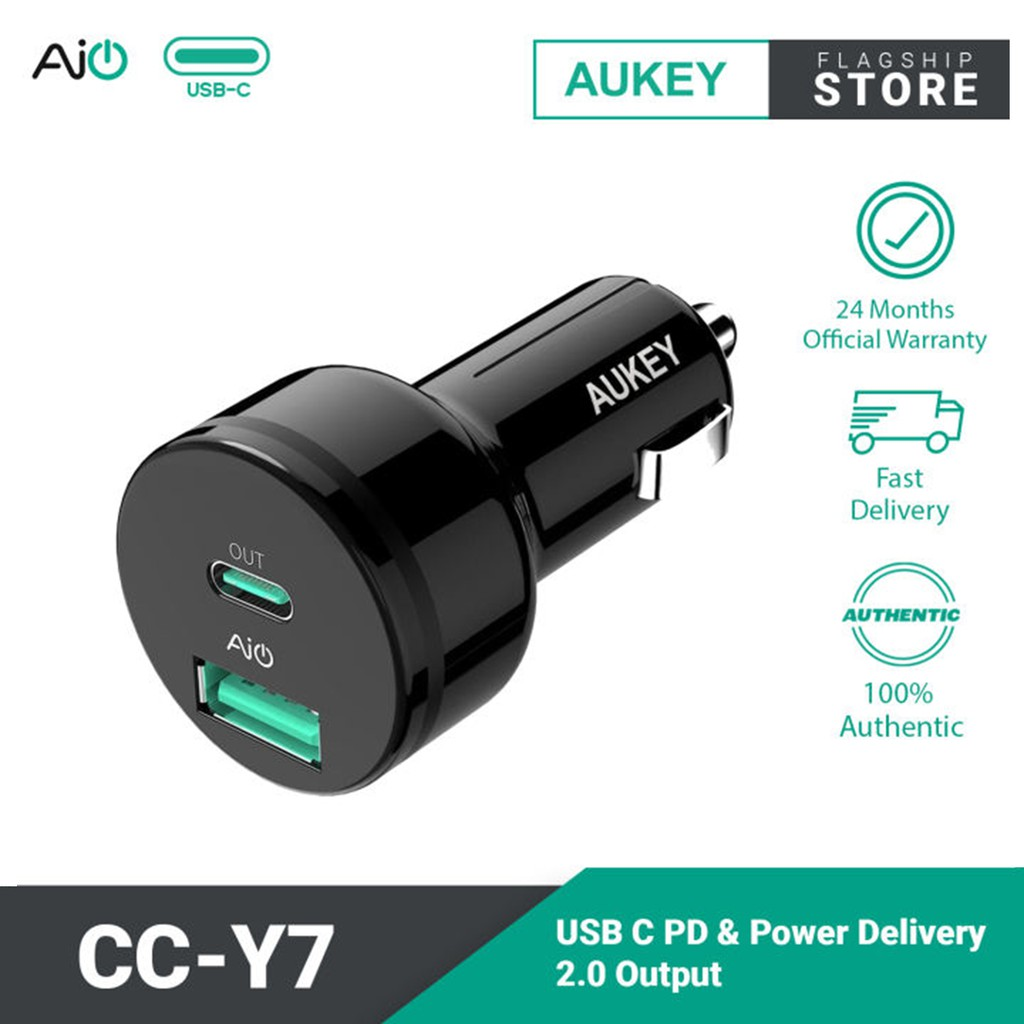 Aukey CC-Y7 USB C PD & Power Delivery 2.0 Car Charger for iPhone X