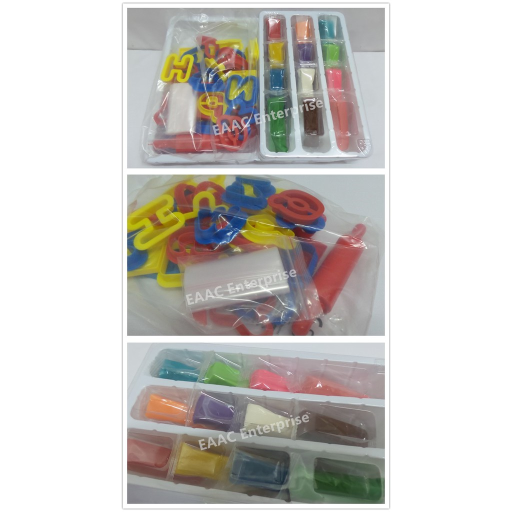 Kid's Play Doh Dough Plasticine ABC Alphabet Mould 12 colours Dough