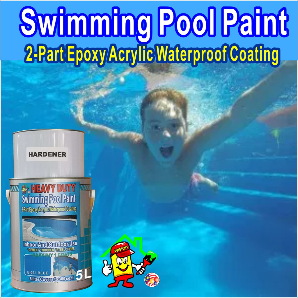 BLUE E031 ( 5L ) SWIMMING POOL PAINT 2 PART EPOXY ACRYLIC WATERPROOF  COATING INDOOR AND OUTDOOR USE HEAVY DUTY
