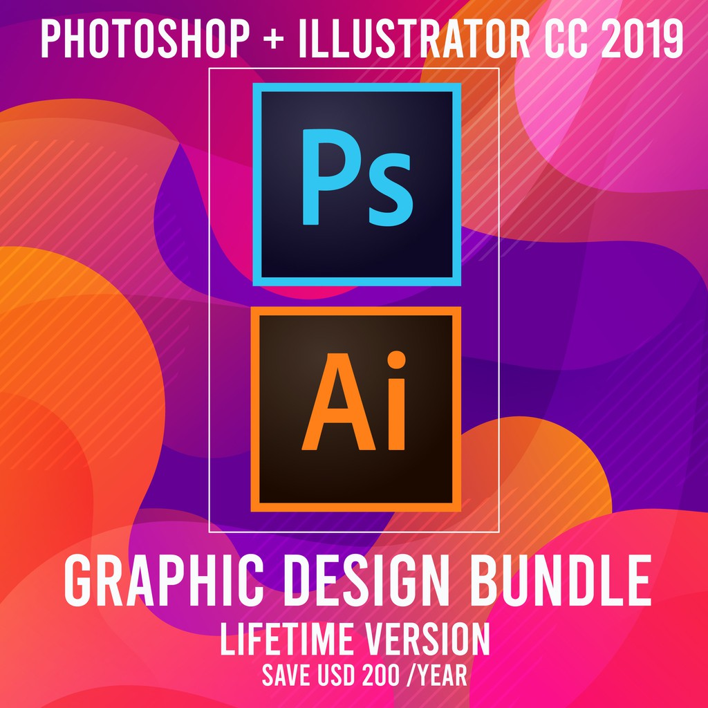 [Graphic Design Bundle] Adobe Photoshop CC + Illustrator CC 2019 LIFETIME