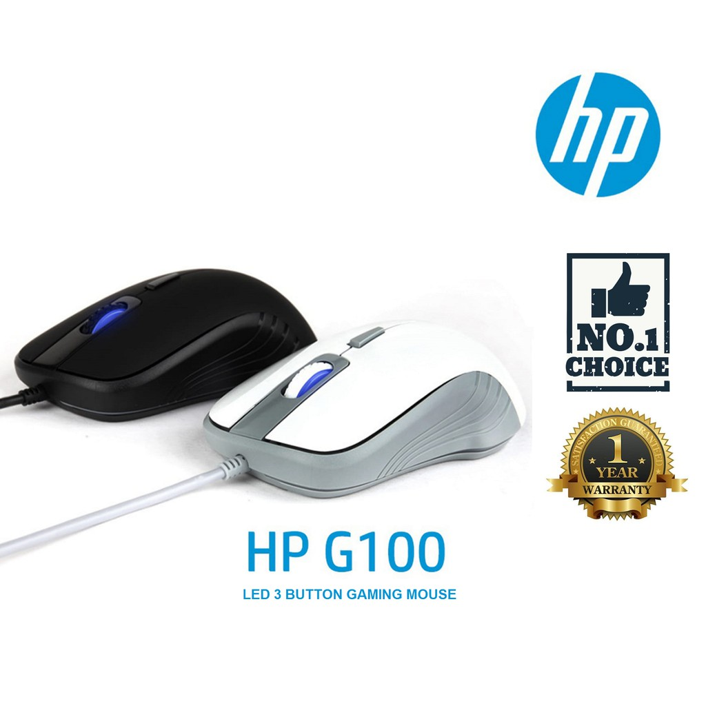 HP G100 USB WIRED OPTICAL SENSOR GAMING MOUSE 4 BUTTONS & ADJUSTABLE 800,  1200 & 2000 DPI  CABLE : 1 8M  BLACK & WHITE