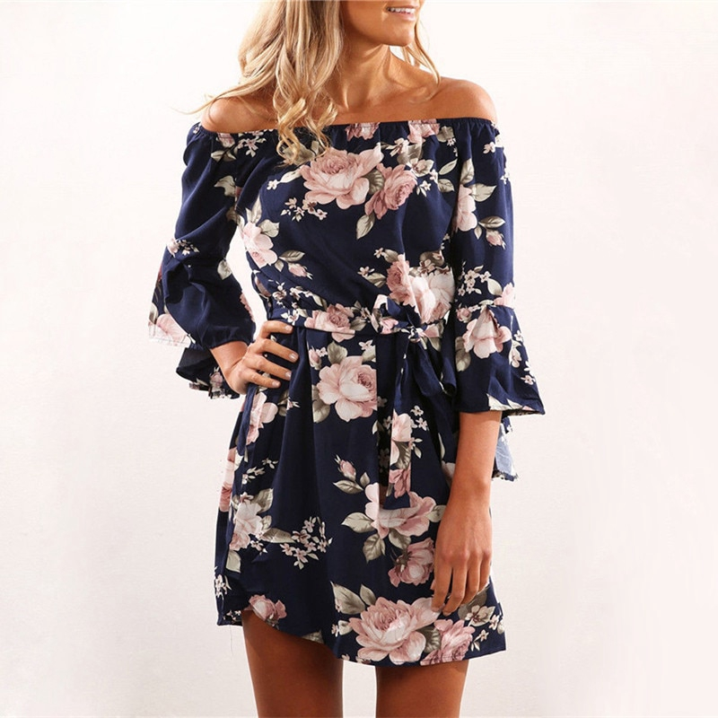 4582cf7948b1f Print Chiffon Dress Boho Style Short Party Beach Dresses Vestidos De Fiesta