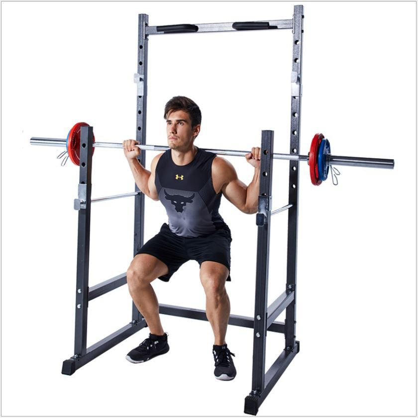 Heavy Duty Squat Rack Station Smith Machine Bench Press Barbell Half Cage