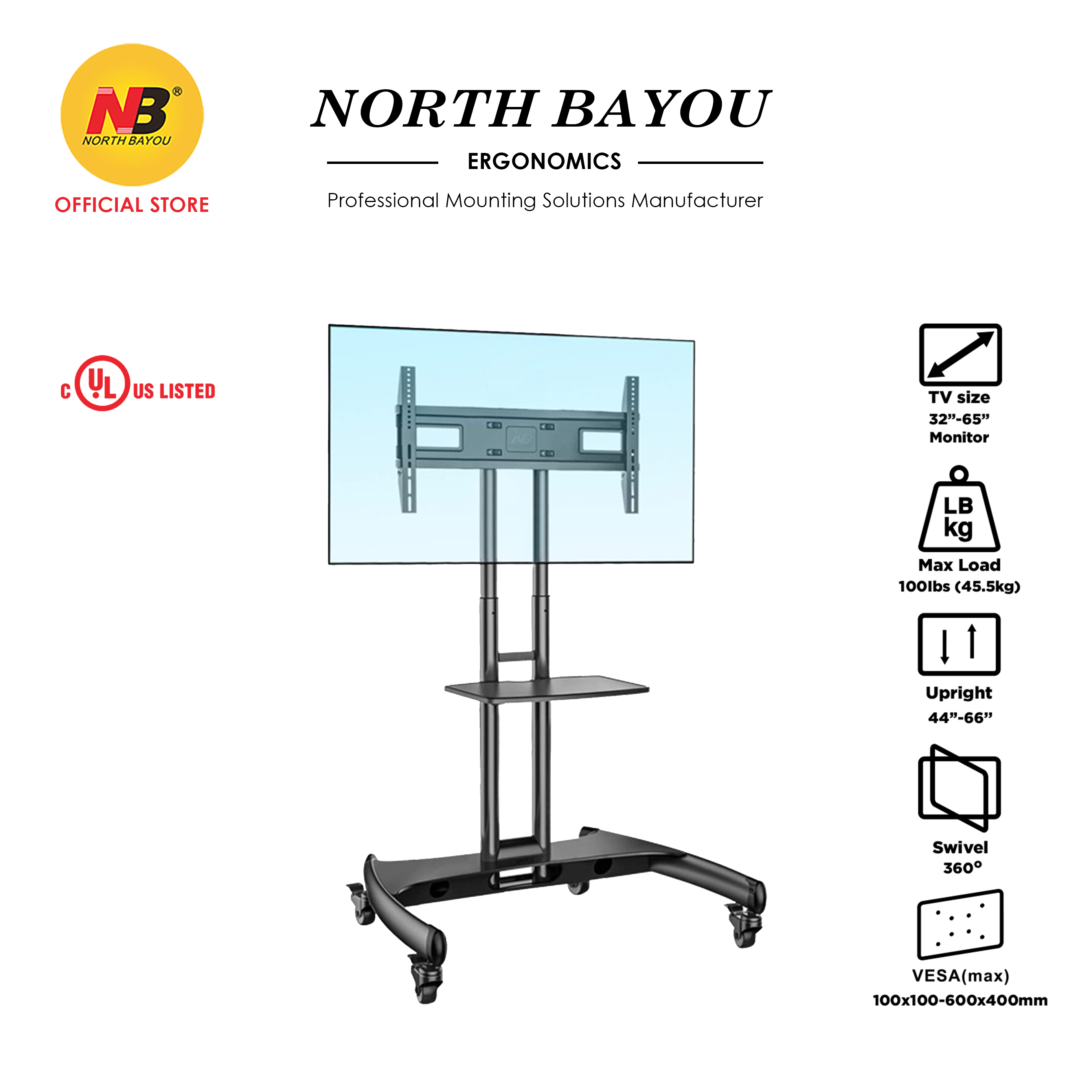 NB North Bayou Mobile TV Cart TV Stand with Wheels for 32 to 65 Inch LCD LED OLED Plasma Flat Panel Screens up to 100lbs