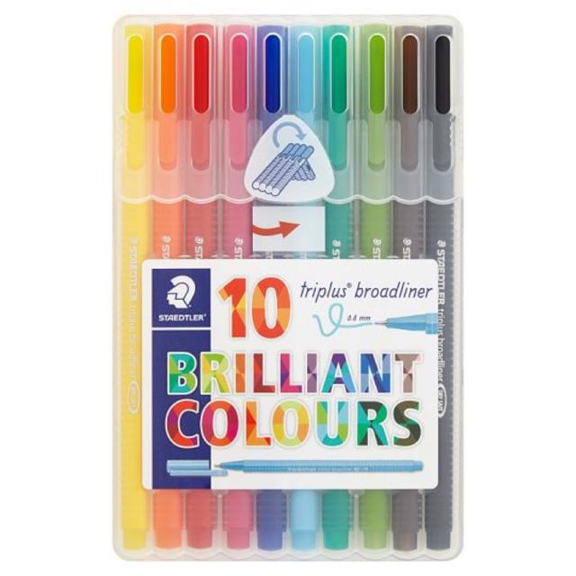 Staedtler 10 Triplus Broadliner Brilliant Colours 0.8mm