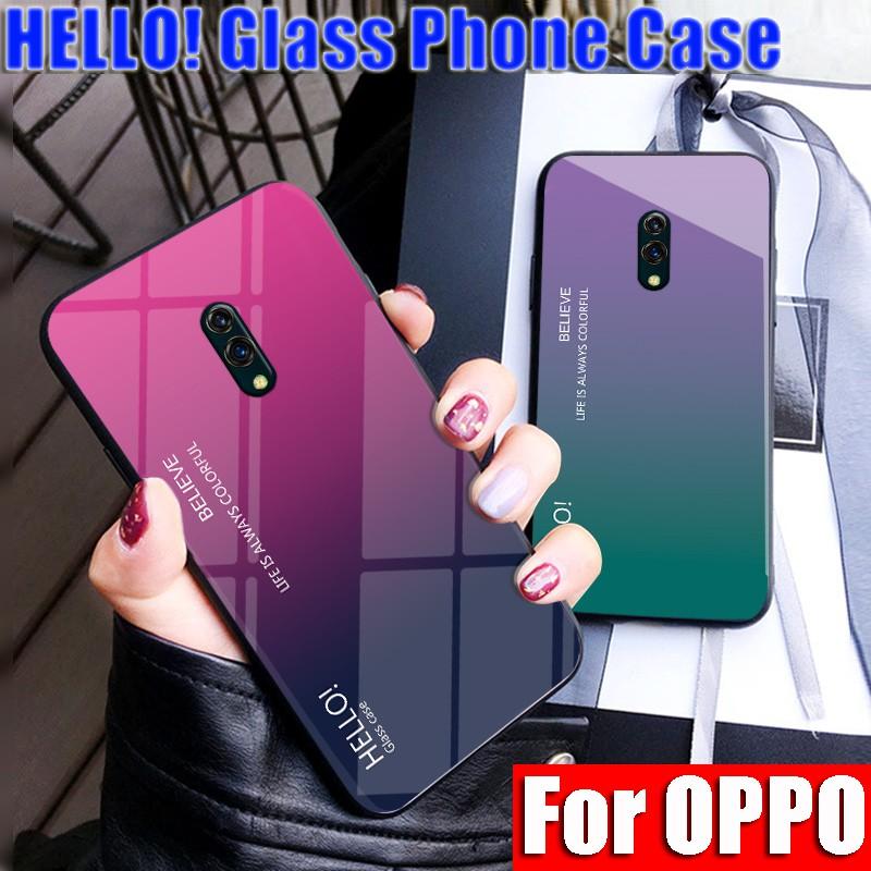OPPO Realme X Realme C2 Realme 3 Pro 2 1 K3 A1K A5 F7Youth Gradient Color  Glass Design Glossy Casing Hard Case