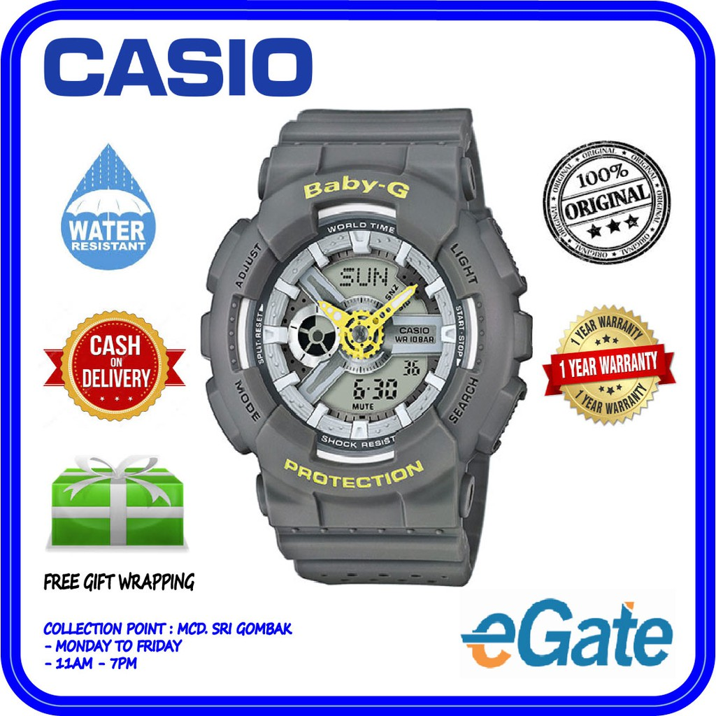 Casio Baby G Ba 120sp 4a Ladies Analog Digital World Time Sporty 110sn 3a Original Watch Shopee Malaysia