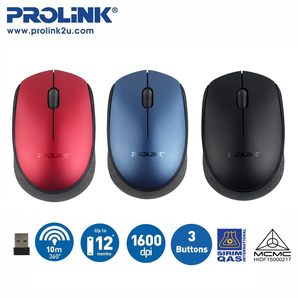PROLiNK Wireless Optical Mouse Free AA Battery PMW5008