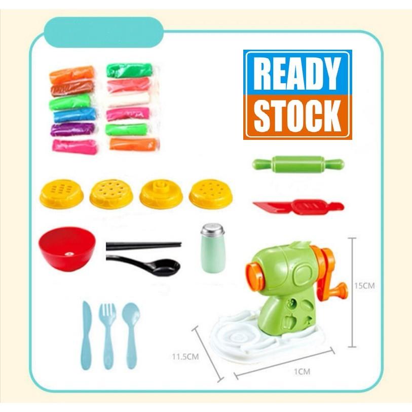 [ READY STOCK ]  3D Color Clay Mold Tool Noodles Machine Kitchen Pretend Play Toy Kid Budak Mainan Mud Jualan Murah Girl