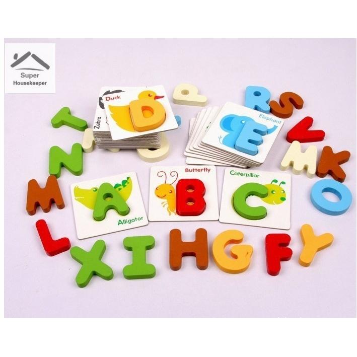 26pcs Wood Alphabet English Letters Puzzle Jigsaw Educational Toy Kids Toy Set