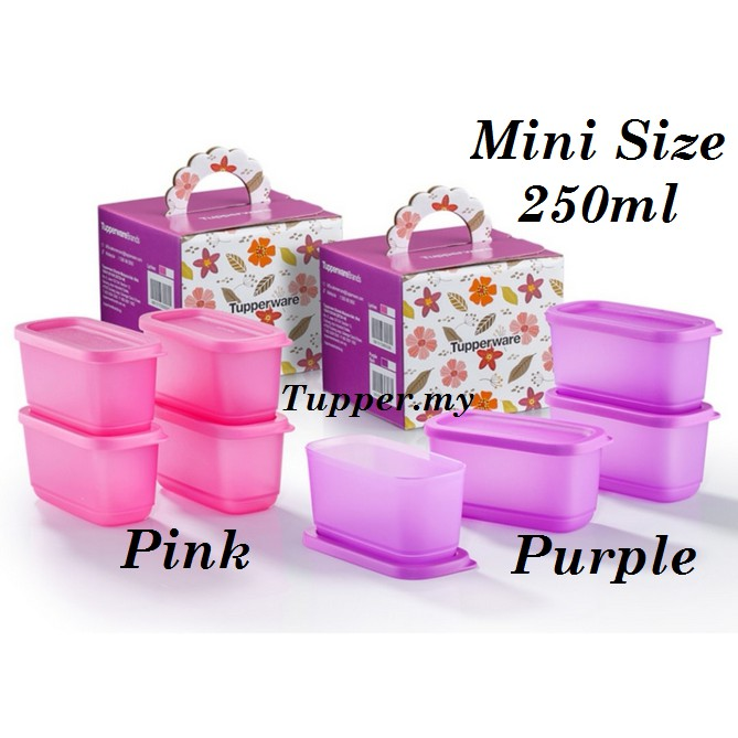 *Mini Size*Tupperware Sweet Trinkets Gift Set Mini Cubix Half Square Round 250ml Purple(4pcs)