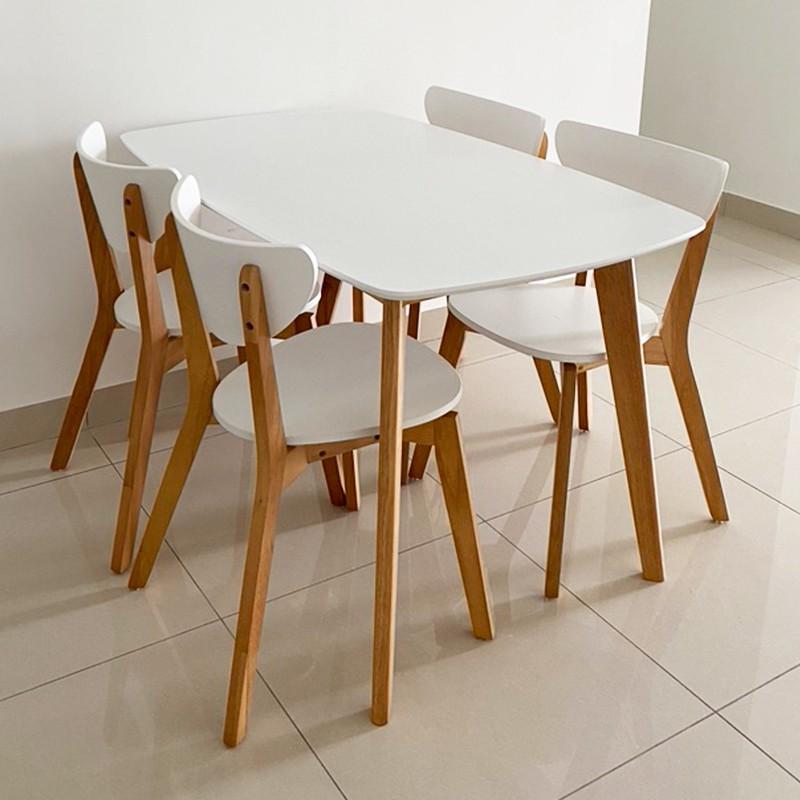 Furniture Direct NAIDA 4 seater Scandinavian solid wood dining set/ set meja makan