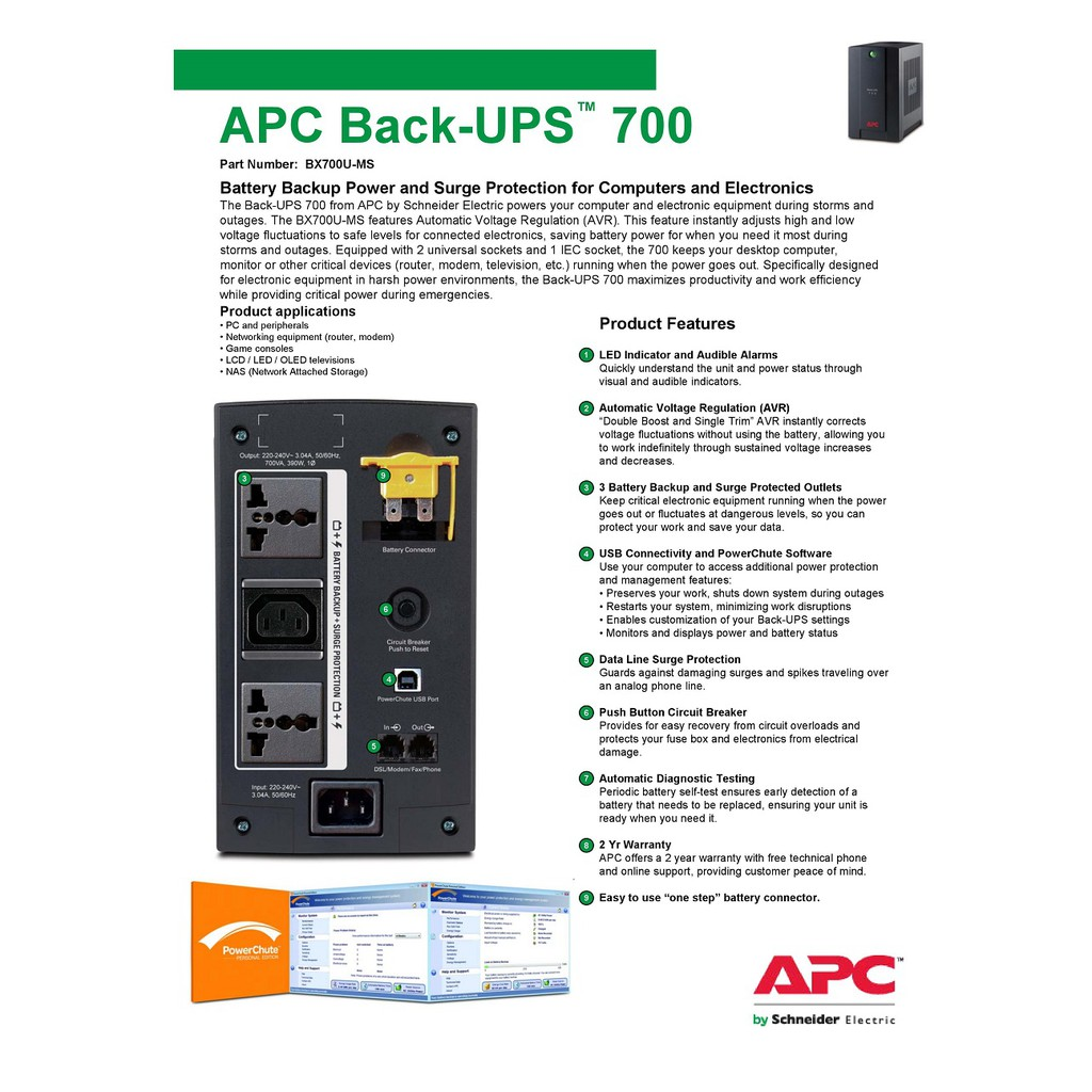 APC Back-Ups 700VA BX700U-MS AVR Backup Battery & Surge Protector for  Electronics & Computers with Universal Sockets