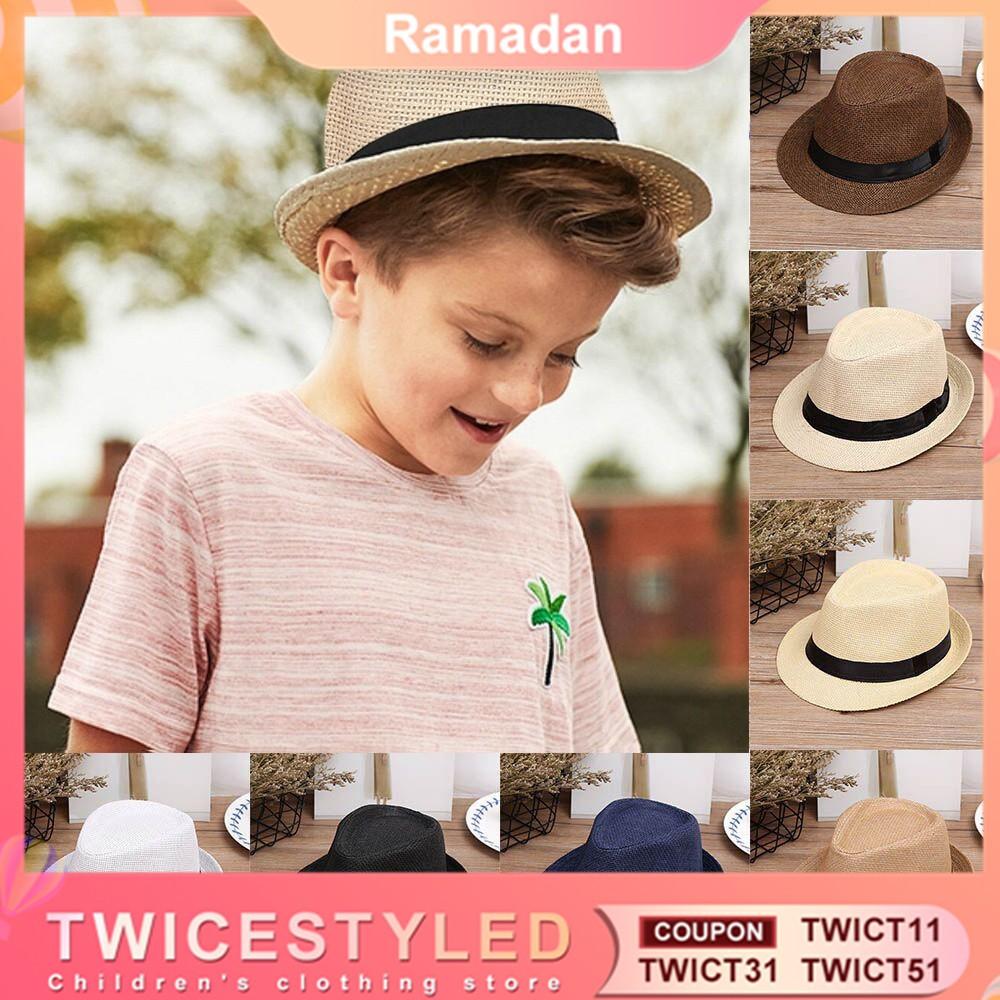 af2f6e7f2 Twice-♥【Ready stock】Kids Summer Beach Straw Hat Trilby Fedora Hat Gangster  Cap