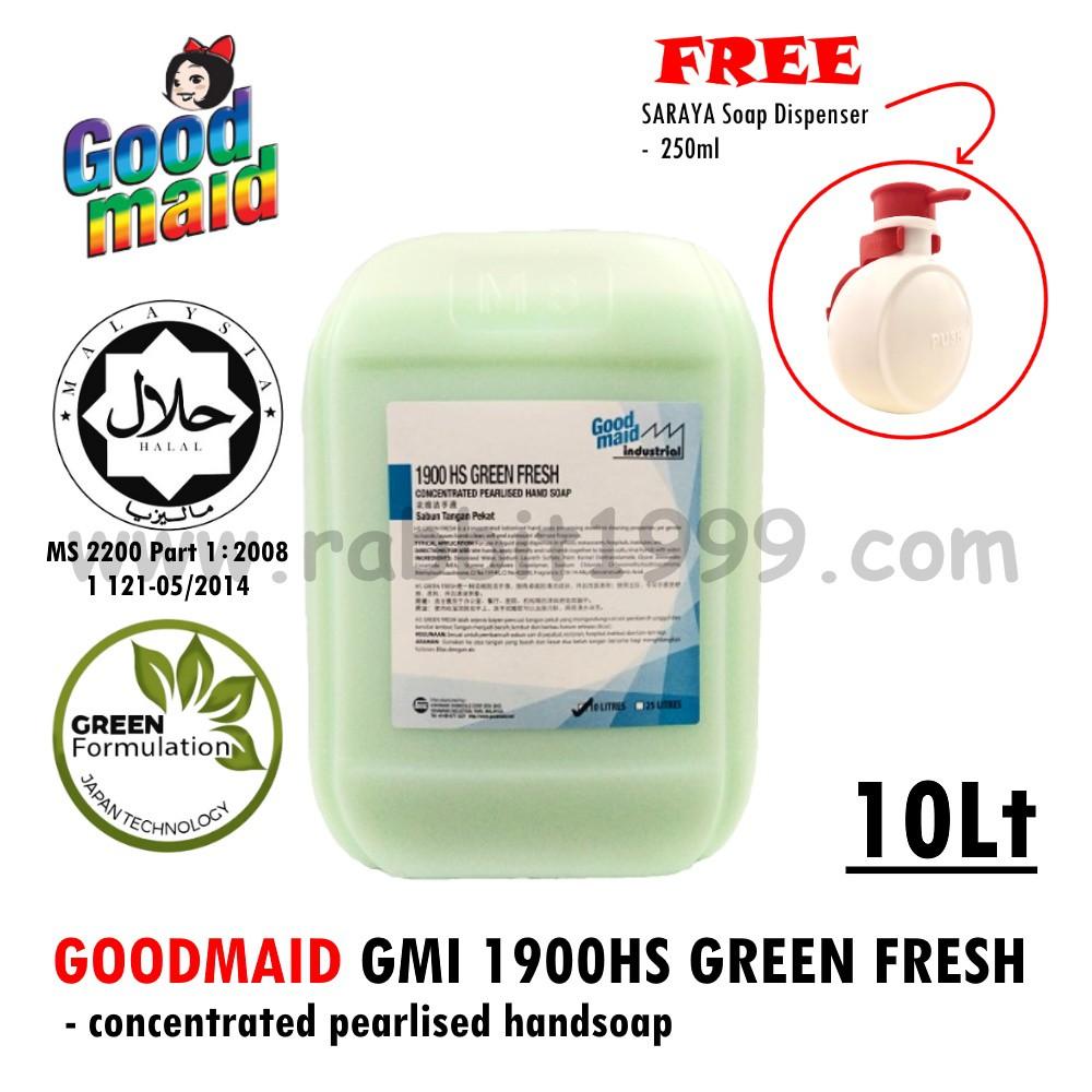 GOODMAID GMI 1900HS GREEN FRESH- 10lt [Buy 1 FREE 1 SARAYA soap dispenser]- liquid hand soap/ apple handsoap