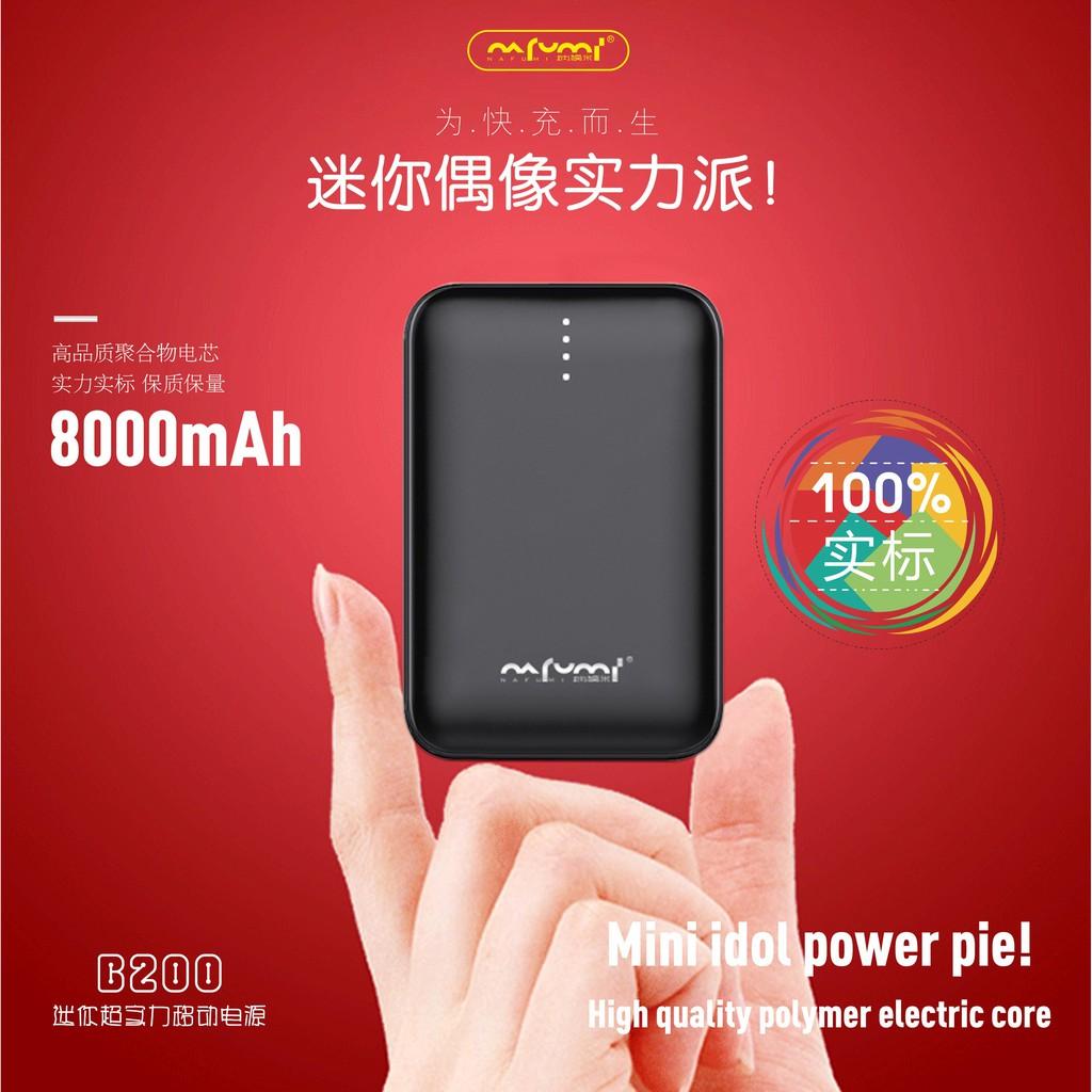 NAFUMI B200 8000MAH POWER BANK MINI SIZE SLIM DESIGN SMART DUAL USB PORT 2.1A OUTPUT FAST CHARGE MOBILE POWER