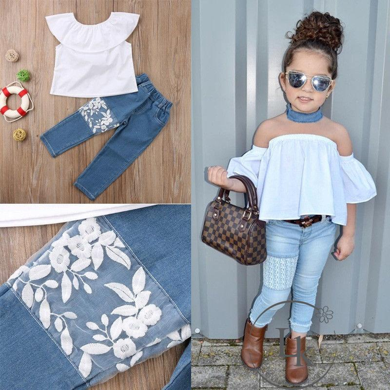 2pcs Kids Baby Girls Off Shoulder Tops+Hole Denim Pants Kids Fashion Clothes