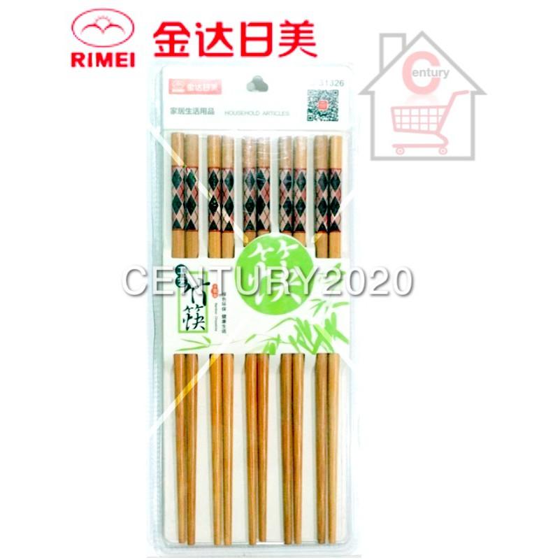 RIMEI Chopsticks Painted Printing Bamboo Chopstick Grids Printing 10 Pairs 31326