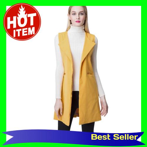 Europe Women Waistcoat Open Front Slit Hem Side Pockets Notched Collar Sleeveless Vest Gilet Outwear Yellow (Yellow)