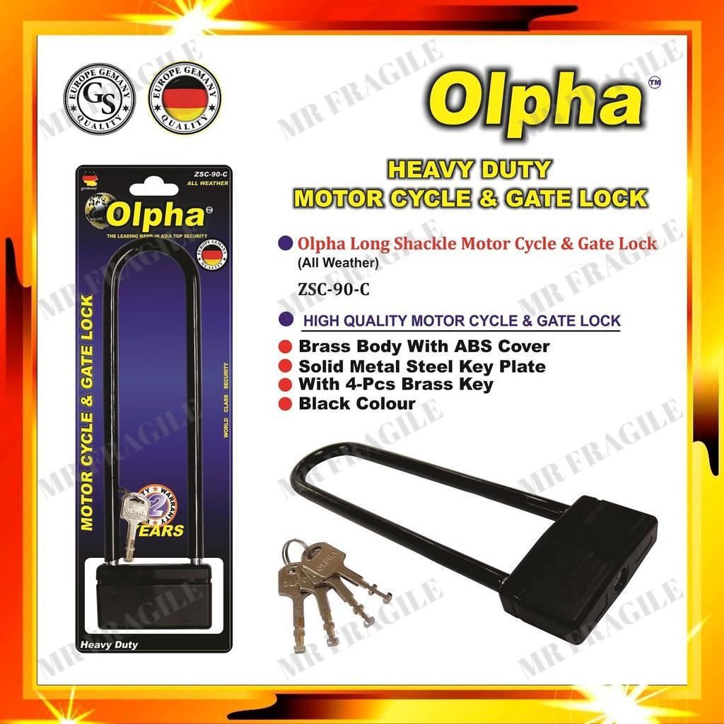 """Olpha 9"""" Heavy Duty Fork Security Motorcycle Lock / Gate Lock / Kunci Lock Motor Motorsikal Lock"""