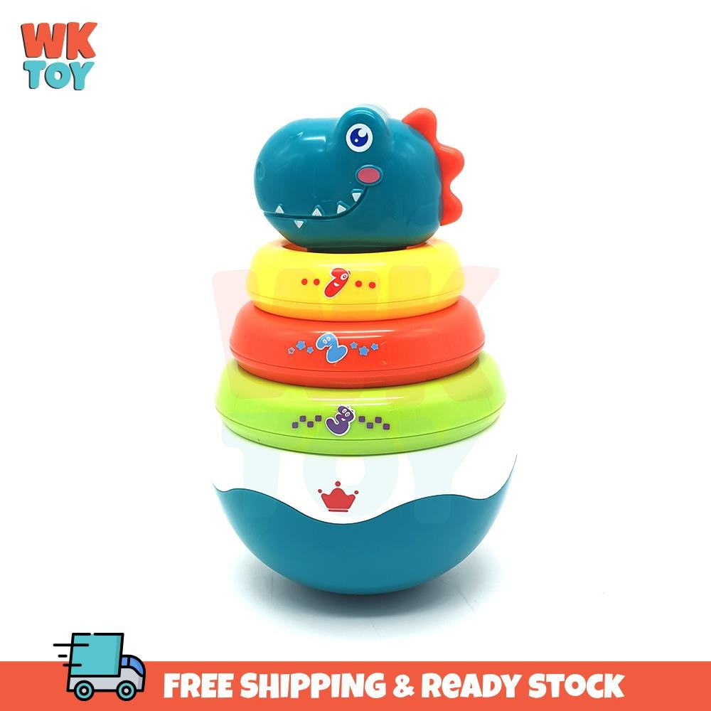 WKTOY Huanger Stacking Roly Poly Dinosaur Tumbler Doll Baby Toys Rattle Ring Bell Newborn Early Learning Educational