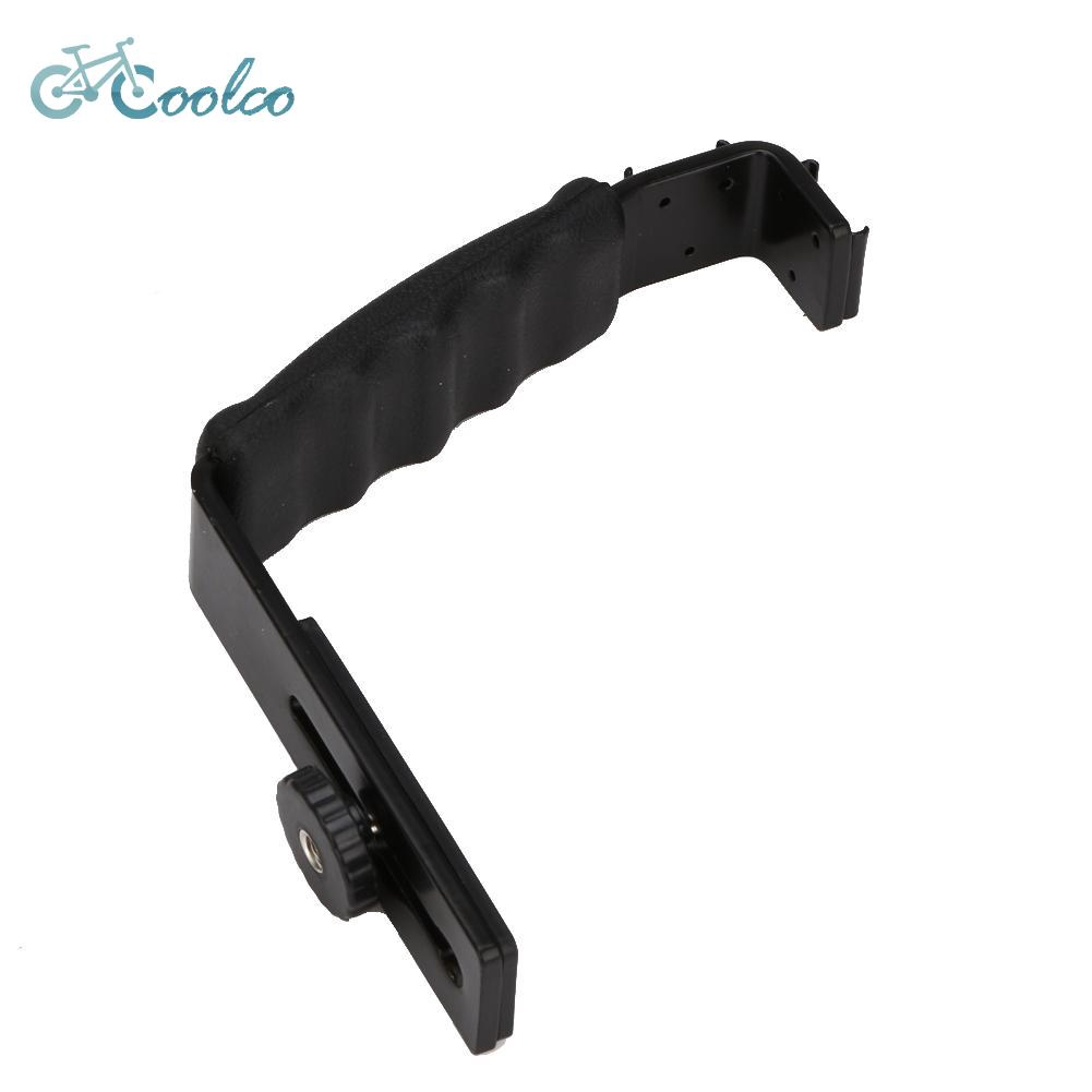 ★Coolco Outdoor★L-shaped Angle 2 Shoe Flash Bracket DV Tray Dual Hot Shoe for DSLR Camera Black♆