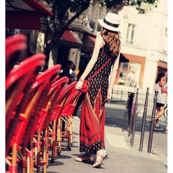ชุดเดรสยาว Maxi Dress แขนกุดแฟชั่นสำหรั