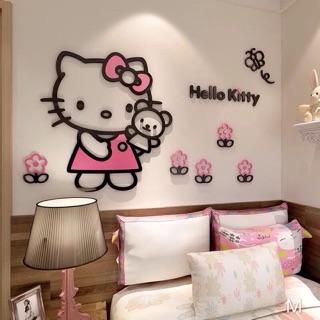 Ready Stock Hello Kitty 3d Acrylic Diy Wall Decor Sticker