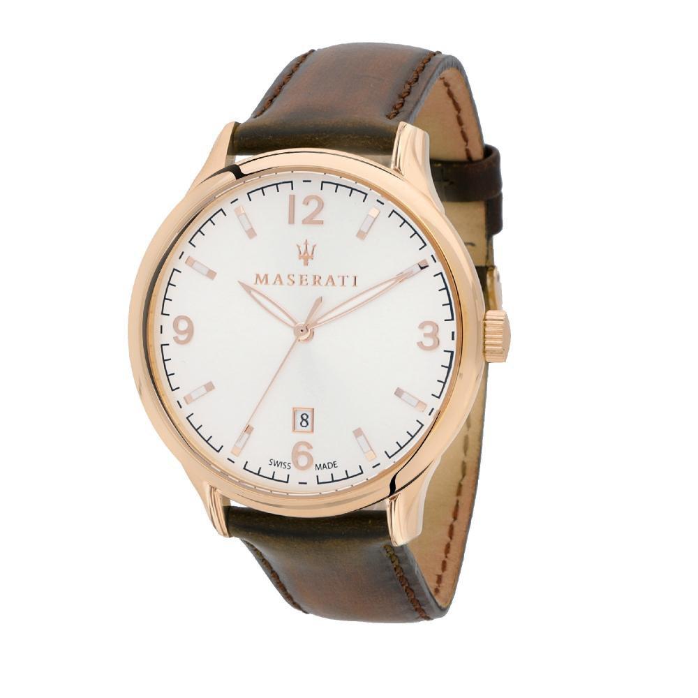 Maserati Attrazione Brown Leather Quartz Watches R8851126002