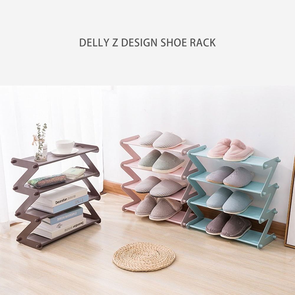 Delly Z Design fashion home Shoe Storage Durable Shoe Rack aluminium canvas Gray ZSR