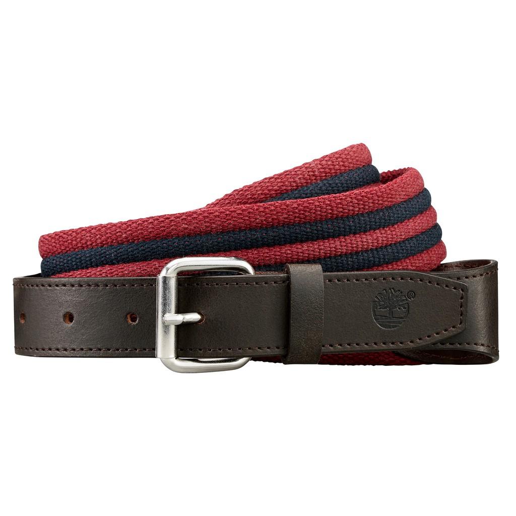 Timberland Men's Canvas Striped Belt - Haute Red   Shopee Malaysia