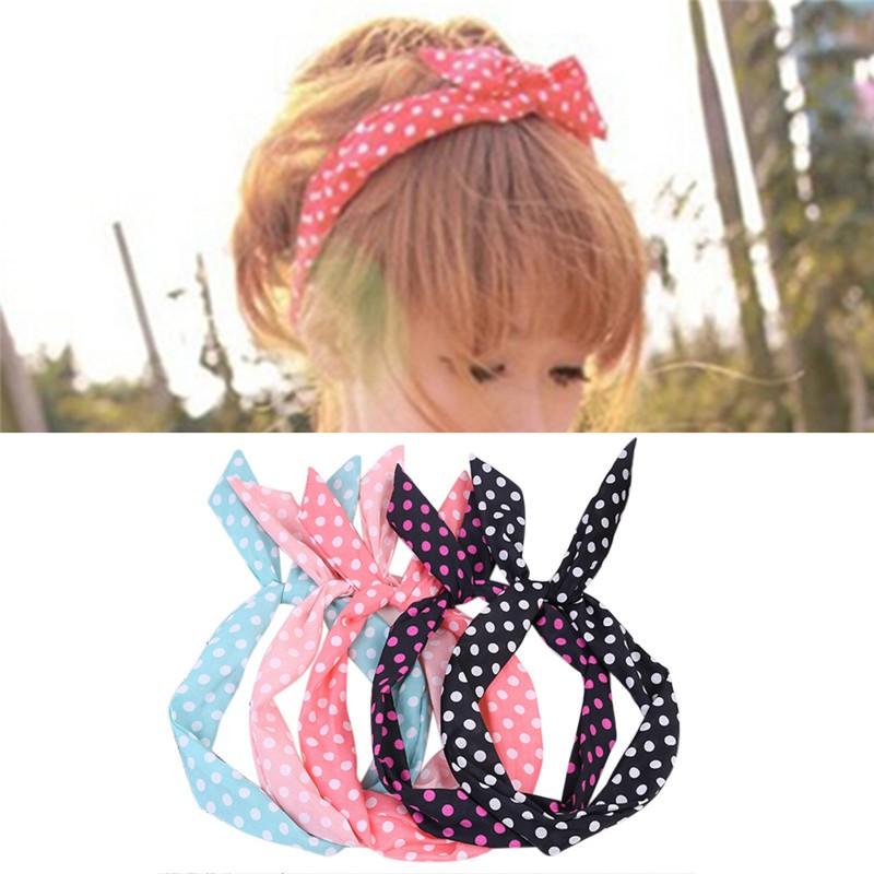 Apparel Accessories Lovely Dot Rabbit Bunny Ear Ribbon Metal Wire Headband Scarf Hair Bow Head Band