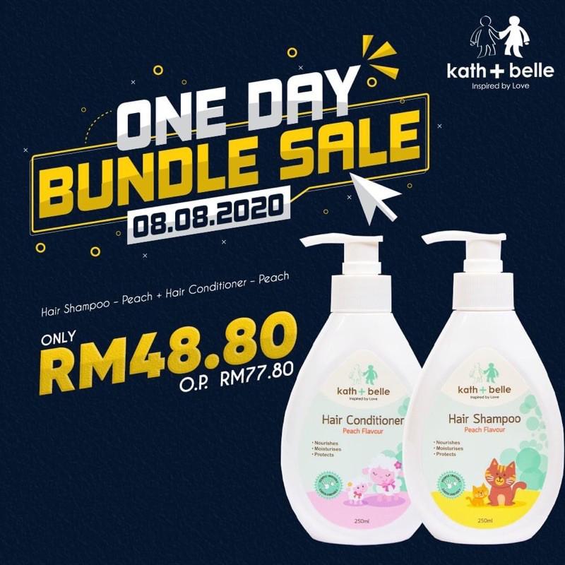 [8.8 Deal] Kath + Belle Hair Shampoo – Peach + Hair Conditioner – Peach