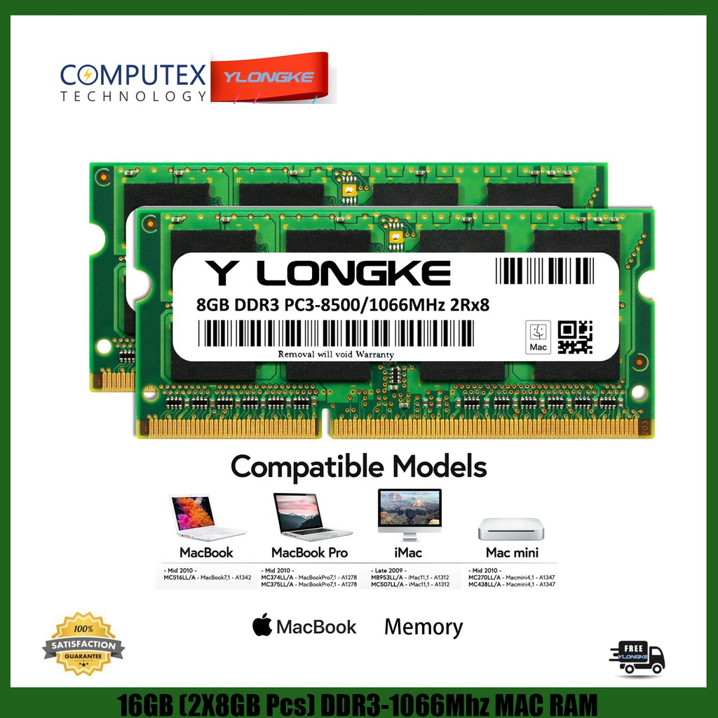 16GB 2x 8GB PC3-8500 1067MHz Memory RAM Apple MacBook Pro Mid 2010 iMac Mac MINI