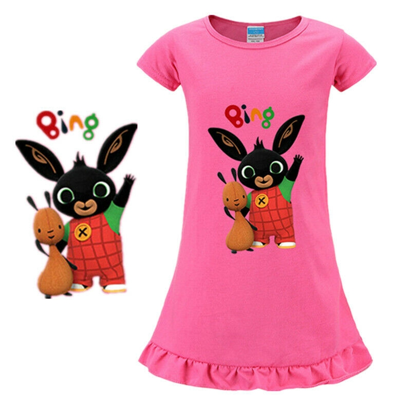 Bing Bunny Girls Short Pyjamas Kids Toddlers Sula Shortie Pjs Set Summer Nightwear T-Shirt Shorts