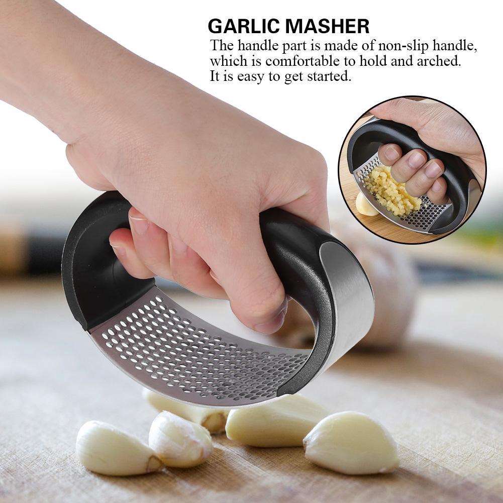 Manual Stainless Steel Garlic Press Crusher Squeezer Masher Home Kitchen Tool