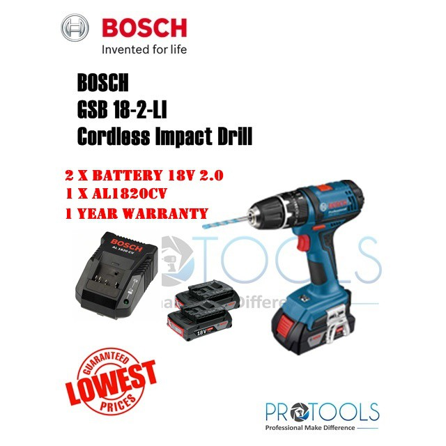 ec4b1adc76a74 Bosch GSB 18-2-LI Original Cordless Impact Drill 18V   Gerudi Impak GSB18-2- li