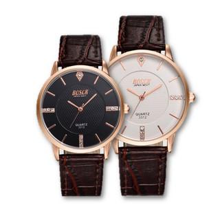 READY STOCK BOSCK Men''s Leather 7mm Ultra Thin Watch Quartz 3312 Jam Tangan