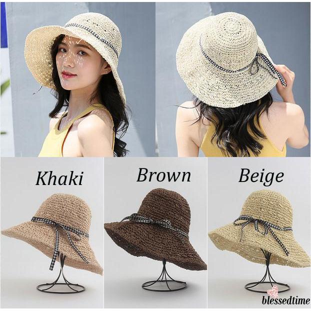 ab9ed248 ✦ZWQNew Women Summer Floppy Foldable Straw Beach Wide Brim Sun Hat ...