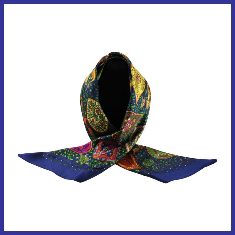 90cm*90cm High-grade Dual-Purpose Hijab & Silk Scarf Wraps For Women (Blue)