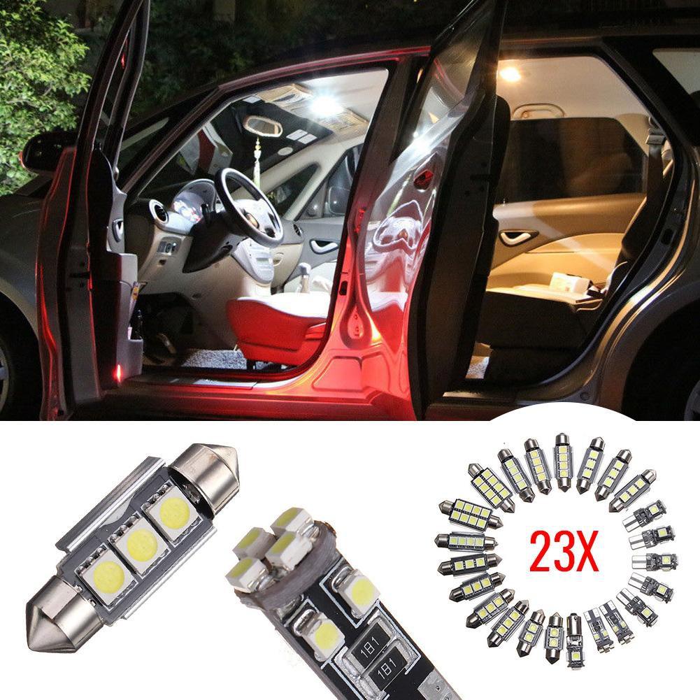 23X LED White Car Inside Light Kit Glove Box Dome Trunk License Plate Lamp Bulbs