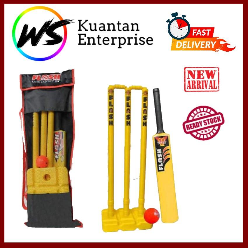 【100% Original】Harimaya Plastic Kwik Cricket Set   Plastik Kriket Set (Free Carry Bag)