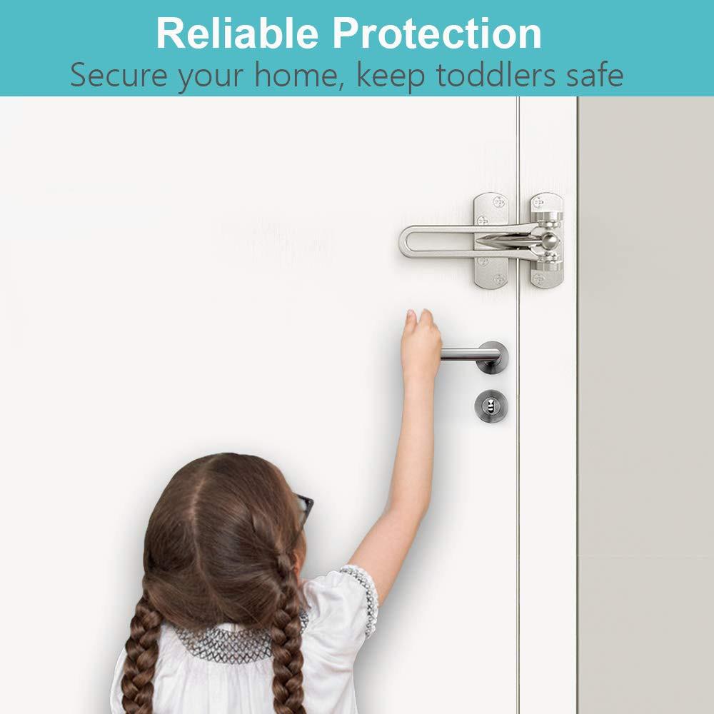 Satin Chrome-2 Pack Door Locks for Kids Door Lock for Home Security Home Reinforcement Lock for Swing-in Doors Thicken Solid Aluminium Alloy 2 Pack Hotel Door Latches