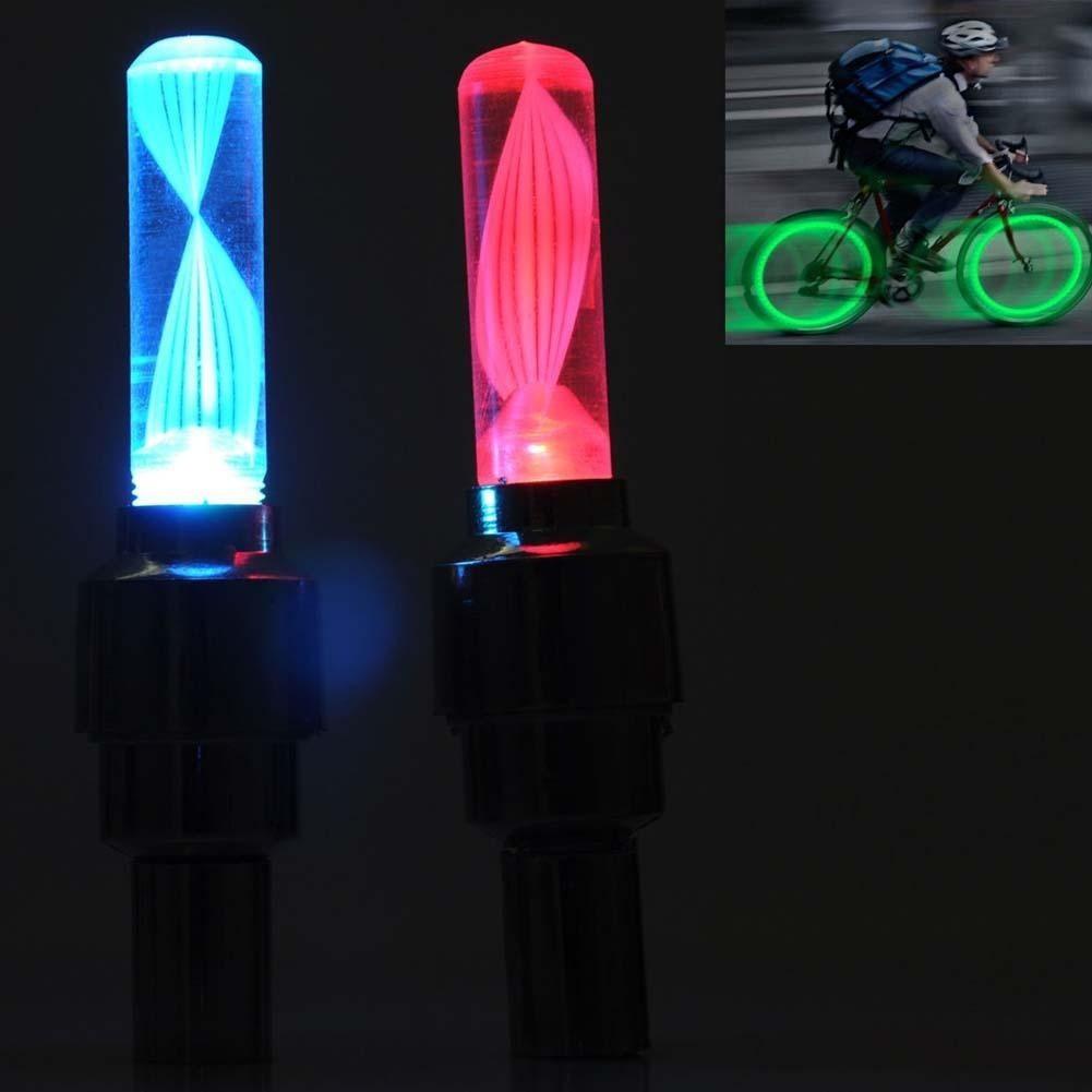 LED Flash Tyre Light Valve Cap Light Bike Bicycle Motorcycle Car Wheel Light 2pc
