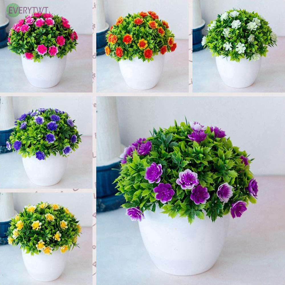 Artificial Fake Flower Ball Plant In Pot Office Home Garden Outdoor Indoor Decor