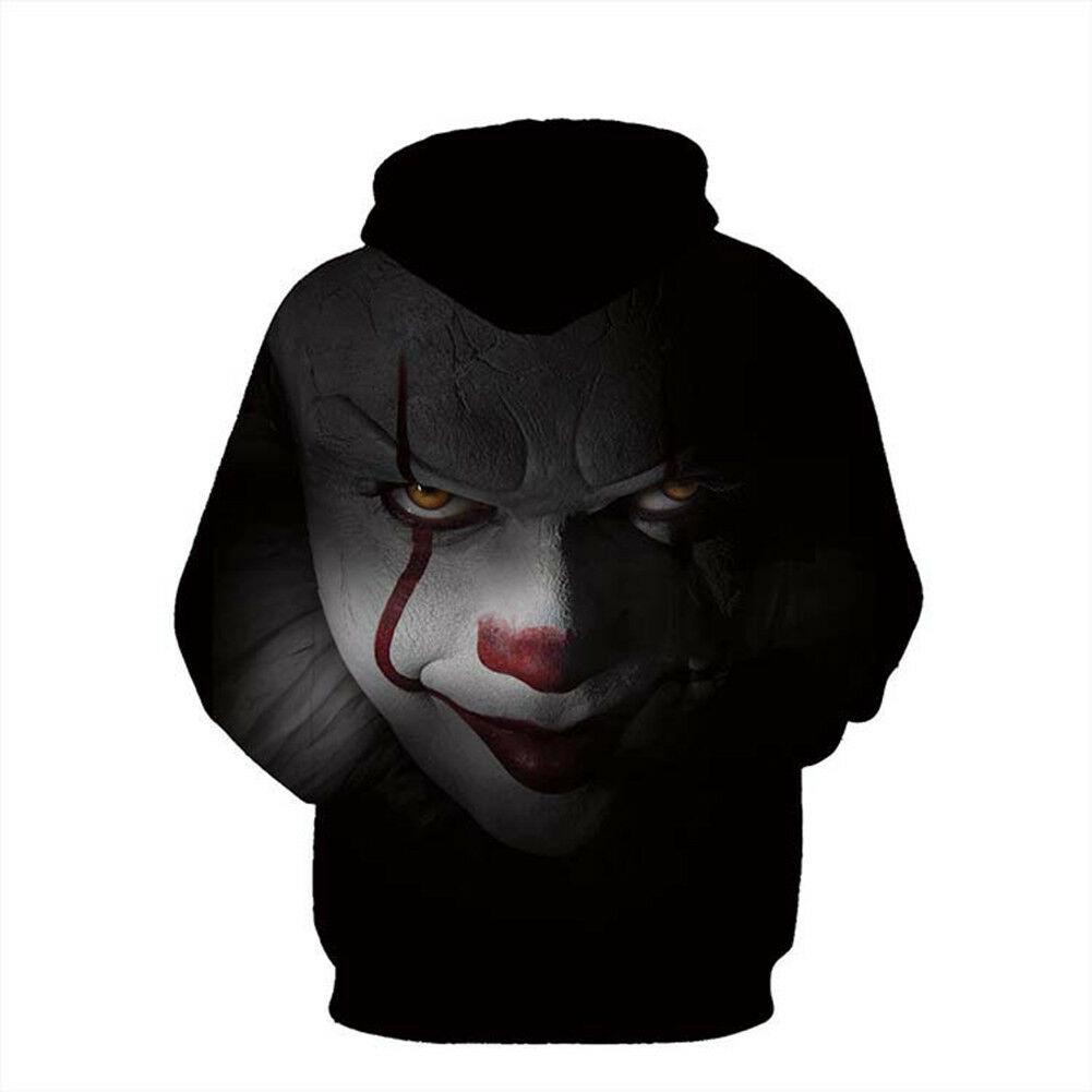 Unisex 3D Print Hoodie Stephen King It Pennywise Horror Movie Cosplay Hoodies 3D