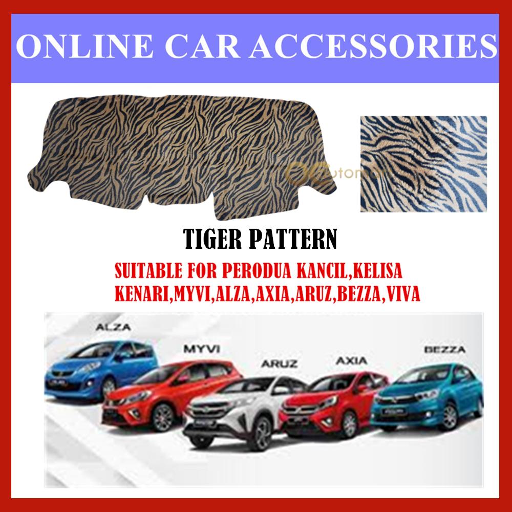 Customized Dashboard Cover Fur / Bulu For Perodua Myvi,Viva,Axia,Aruz,Alza,Kancil,Kenari,Kelisa,Bezza - (Tiger Pattern)