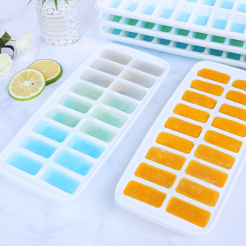 18 Grids Ice Cube Tray Ices Jelly Maker Mold Trays With Lid And Ice Storage Box