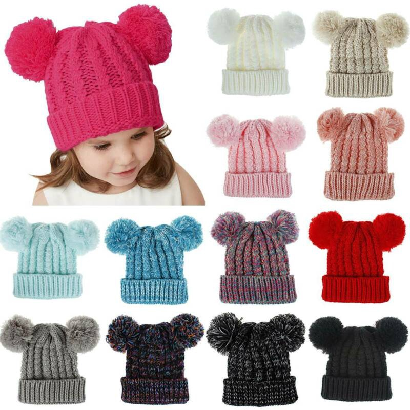 Infant Baby 2 Pom Pom Hat Double Bobble Beanie Cap Knitted Kid Boy Girl 1-6Years